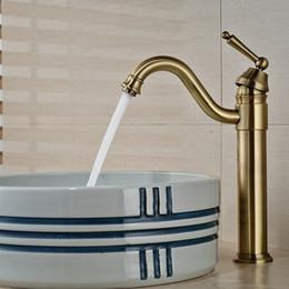 Wholesale Luxury Antique Sinks - Wholesale And Retail Luxury Antique Bronze Bathroom Basin Faucet Single Handle Hole Vanity Sink Mixer Tap Swivel Spout