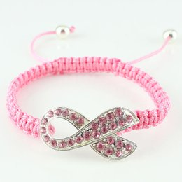 Wholesale Macrame Cords - Fashion Pink Crystal Ribbon Jewelry Breast Cancer Awareness Macrame Adjustable Bracelet Charm Cord - Black, White, Pink