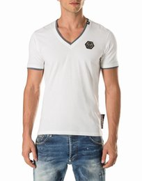 Wholesale Neck Trimmer - V Neck T-shirts SS WILLYS Mens Slim t shirts Solid tshirt Leather Metal Paches Logo Cotton Jersey Tee contrasting trim Collar Short Sleeve