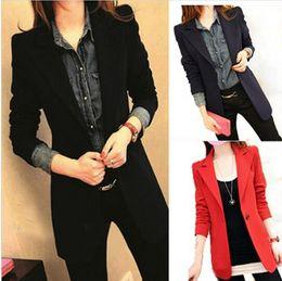 Wholesale Blue Woman Blazer - 2016 New Slim Women Blazer Suit Jacket Casual Medium-Long Woman Coat Spring Autumn Plus Size Blazers Free Shipping v213