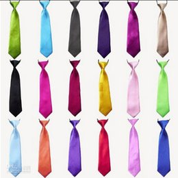 Wholesale Elastic Neckties - 100Pc Baby Boy School Wedding Elastic Neckties neck Ties-Solid Plain colors 32 Child School Tie boy