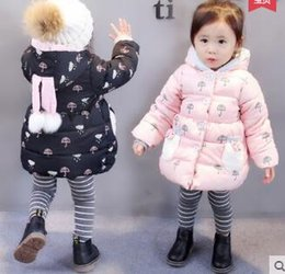 Wholesale Toddler Girls Down Coat - Brand New Children Clothing Baby Girls Winter Hooded Unbrella Allover Printed Warm Jacket Toddler Girls Winter Puffer Coat Free Shipping
