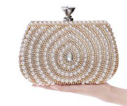 Wholesale Rhinestone Beaded Wristlet - Vintage Designer Wedding Bridal Crystal Rhinestone Pearl Beaded Evening Clutch Bag Handbag Purse Wallet Shoulder Chain CrossBody Gold Silver