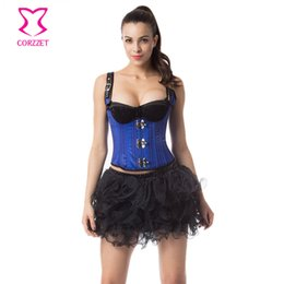 Wholesale steel corset dress - Bule Striped Buckled Shoulder Straps Vest Steel Boned Underbust Corset Dress Sexy Gothic Clothing Steampunk Corsets and Bustiers