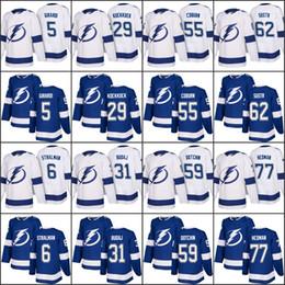 Wholesale Dan Black - men 2018 Season Tampa Bay Lightning 5 Dan Girardi 6 Anton Stralman 29 Slater Koekkoek 31 Peter Budaj 55 Braydon Coburn jersey