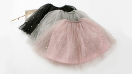Wholesale Knee Skirts - Autumn Spring New Arrival Children Tulle Skirt Korean Style Girls Beaded Skirt Beautiful Kids Princess Skirt Fit 3-8 Age