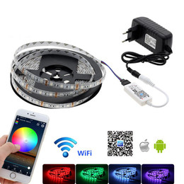 Wholesale Led Rgb Controller Wifi - RGB LED Strip 5050 DC 12V 5M Waterproof   Non Waterproof Neon Strip string lights+ Mini WiFi RGB Controller +12V 3A Power Supply