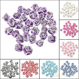 Wholesale Nail Art Ceramic Flower - 20Pcs Fashion Ceramic Rubber Rhinestone Rose Flower Color Nail Art 3D Decoration 1D4V