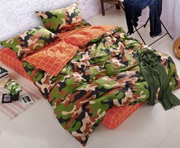 Wholesale Wholesale Camouflage Bedding - Camouflage Army 4pcs bedding sets king queen size pure cotton adult Childrens Bedding Sets 4 pcs free shipping