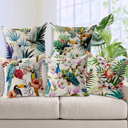 Wholesale Leaf Throw Pillows - 1 Pcs 45x45cm tropic Plant Leaf Floral Bird Pattern Pillow Case Cover five Designs Cotton Home Linen Back Throw Supplies pd-5