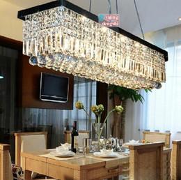 Wholesale Crystal Lamp Dining Table - Wholesale-Rectangular crystal chandelier modern minimalist restaurant dining bar table lamp living room lamp lighting #0702C
