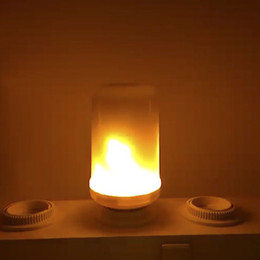 Wholesale Flicker Flame Lamp - 2017 New E27 E26 2835 LED Flame Effect Fire Light Bulbs 7W Creative Lights Flickering Emulation Vintage Atmosphere Decorative Lamp