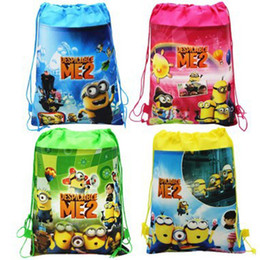Wholesale Woven Drawstring Backpack Wholesale - 34x27cm Retail Despicable Me drawstring bags Super Mario backpacks handbags children Frozen school bags kids' shopping bags Gift present