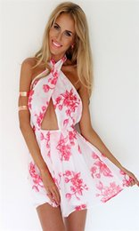 Wholesale Dresses Chiffon Pink Woman - FG1509 New Brand 2015 Summer Women Dress Casual Sleeveless Chiffon Pink Floral Printed Elastic Waist Beach Dresses Vestidos De Renda