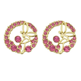 Wholesale Fairy Earrings Studs - Newest Gold Color Plated Fairy Stud Earrings for Women Brincos Pequenos Summer Blue Purple Hotpink White Rhinestone