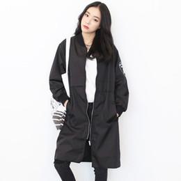 Корейский длинный плащ онлайн-Wholesale- Thin Trench Coat For Women 2017 Autumn Korean Boyfriend Casual Street Fashion Long Sleeve Batwing Coat casaco feminino C29