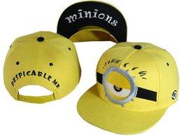 Wholesale Minion Snapback Kids Hat - Despicable me hat Minions peaked cap unisex snapback hiphop cap children Baseball Cap minion cap for kids Hiphop Adjustable Hat B252-5
