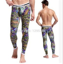 Wholesale Plus Size Long Underwear - Wholesale-Plus Size Male Modal Cotton Long Johns High Quality Convex Thermal Underwear Autumn Winter Elastic Bottoming Leggings