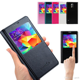 Wholesale S4 Folio Flip Case - Samsung Galaxy S4 S5 S6 S7 Edge Plus Note 3 4 5 A7 Genuine Copy Original Smart Flip Cover View Folio Case Open Window Wakeup Sleep IC Chip