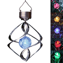 Wholesale Lamp Solar Wind Street - 7 Color Changing Solar Power Stainless Wind Chime Moving Rotating LED Light Outdoor Garden Balcony Courtyard Hanging Lamp Lawn Light WI108