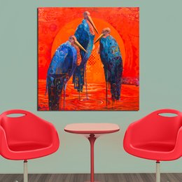 Wholesale Bird Picture Frames - Decorative Painting Wall Art Canvas Prints Blue Bird Animal Wall Pictures for Living Room Home Decor no Framed