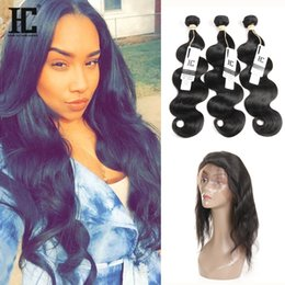 Wholesale Synthetic Body Wave Weave - Body Wave 360 Lace Frontal With Bundles Brazilian Virgin Hair 3 Bundles With Frontal Closure Human Hair Weave 360 Frontal With Bundles