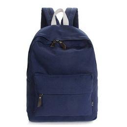 Wholesale Korean Fashion Simple For Men - 2015 Korean Simple Preppy Solid Men Women's Canvas Backpacks School Bag For Boy Girl Teenagers Mochila Casual Travel backpacks