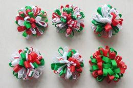 nuovi fiori di grosgrain Sconti Natale Nuovi accessori per capelli bambini Grosgrain Ribbon boutique Natale fiocchi clip fiore neonate fascia elastica arco HD3236