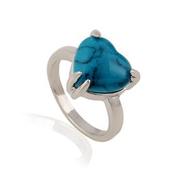 Wholesale Heart Shaped Rings Sale - Christmas Promotion Natural Stone Ring Hot Sale Turquoise Blue Stone Heart Flower Shape Natural Stone Rings for Women