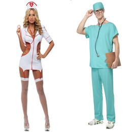 Wholesale Halloween Dress Nurse - Wholesale-The nurse and doctor a couple of cosplay game uniforms nightclub DS service Costumes Halloween Dress