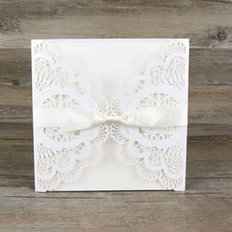 Wholesale Lace Vintage Invitations - Wholesale- Free Shipping 30pcs lot Lace Bowknot Wedding Invitation Cards Vintage Laser White Hollow Out Flowers Blank Inside with Envelope