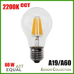 Wholesale A19 E26 8w - 2200K CCT 8W A19 LED Filament Bulb Replacement Edison Vintage light bulbs, E26 base. 120V, 230V Dimmable LED filament bulbs 360degree CE,UL