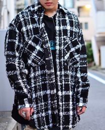 Wholesale Oversized Collar Shirt - 2018 winter hip hop unisex men kanye west oversized plaid vintage thick pocket woolen knitting shoulder loose Tweed Cotton shirt