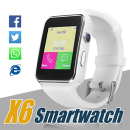 Wholesale Bracelet White Black - X6 Smart Watch Curved Screen Smartwatches Bracelet Watch Support Camera SIM Card TF Card Slot Smartwatch For Android Smartphones in Box