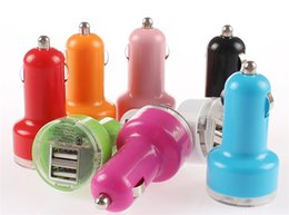 Wholesale Pink Iphone 4s Charger - Dual Port USB Car Charger USB Adapter 2100mah 1000pcs Car Charger for ipad iPhone 5 5C 5S 4S Samsung