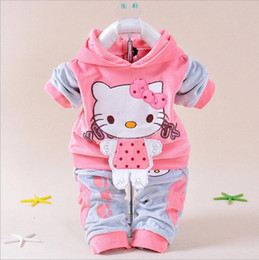 Wholesale Pink Twinset - Baby Girls Clothing Cartoon Kitty Bunny Cow Velvet Hoodies + Pants Twinset Kids Infant Sports Suit Sweatshirt Pink Spring Autumn Maternity