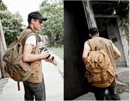 Wholesale Cameras Waterproof Vintage - 2016 Vintage Canvas DSLR SLR Camera Backpack School Travel Bag For Canon Nikon Sony portable security camera fashion Backpacks