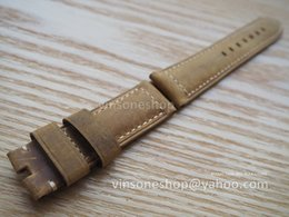 Wholesale 24mm Italian Leather Watch Strap - Wholesale-New 24mm Italian Crazy Horse Leather Strap Brown Retro Watch Band For Panerai With White Stitch