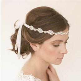 Wholesale Real Hair Accessories - Elegant Sparking Rhinestone Bridal Headbands Crystal Ribbon Tie Back Prom Party Handmade Hair Accessory Real Photos