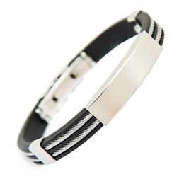 Al por mayor-moda de los hombres de goma de dos capas de pulsera de brazalete de pulsera de acero inoxidable desde fabricantes