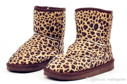 Wholesale Hot W Heels - Wholesale-New print Boots 2016 HOT ! Fashion Height Winter women snow boots for Lady Leopard boots,Warm boots eur size 35--40 free shipping