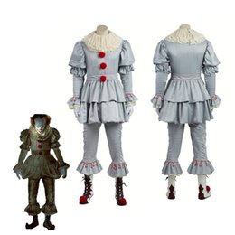 Wholesale Clown Custom - Stephen King's It Pennywise Cosplay Costume Adult Men Women Clown costume suit Custom made fancy Halloween Terror costume