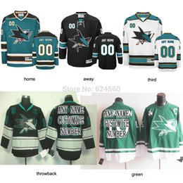 Wholesale Blue Shark Size - Factory Outlet, blank custom Throwback San Jose Sharks hockey jerseys Home Road Alternate jersey Embroidery Logo Sewn on Any Name & NO size