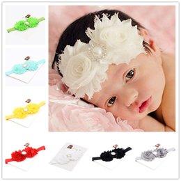 Wholesale Headband Diamond Center - 12pcs shabby chic flower hair bows Diamond Pearl Center baby hair bows flower headband infant Hair bow elastic hairband