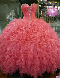 Wholesale Sexy 18 Image - Masquerade Ball Gown Quinceaneara Dresses Real Pictures 2016 Puffy Tiered Organza Crystals Sweet 16 18 Prom Party Dresses vestido De festa