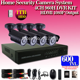 Wholesale Cheap Cctv Kits - Free shipping DHL,Cheap 4pcs CMOS 600tvl Day and Night vision camera plus H.264 4CH Full 960H network CCTV System HDMI DVR kits