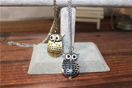 Wholesale Owl Pendant Watches - Cute Vintage Night owl Necklace Pendant Quartz Pocket Watch Necklace Owl Watches PW006