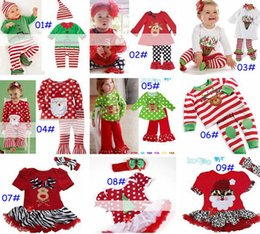Wholesale Carnival Hats Wholesale - 2016 New baby christmas 2pc set girls reindeer tshirt tops dress & baby pants & infant ribbon headband & hat 9designs choose free ship melee