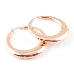 Wholesale Silver Big Round Earrings - Women's Shiny 18K Rose Gold Stainless Metal Big Round Moon Circle Hoop Earrings Geometric Earrings Jewelry Gift 48mm