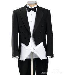 Wholesale Online Fit - Long Tail Herringbone Frock Notch Lapel Solid Black Formal Affordable Essential Online 3 Piece Tuxedo(Jacket+Pants+Bow Tie+Vest)